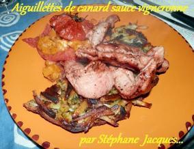 Aiguillettes de canard au jus du vigneron et legumes divers