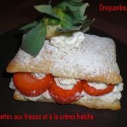 Allumettes aux fraises et a la creme fraiche