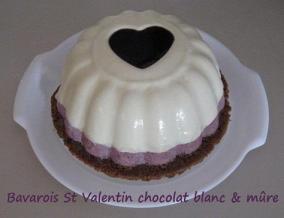 Bavarois de la st valentin au chocolat blanc et a la mure