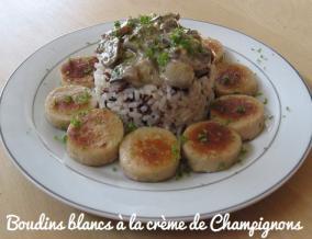 Boudin blanc de rethel a la creme de champignons et riz sauvage