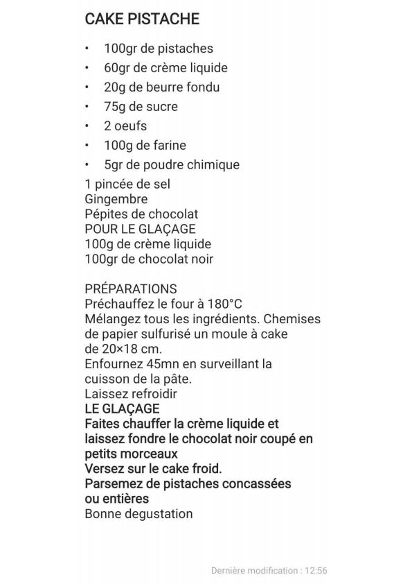 Cake aux pistaches pepites chocolat la recette