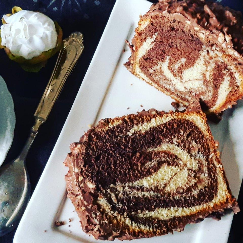 Cake marbré chocolat vanille