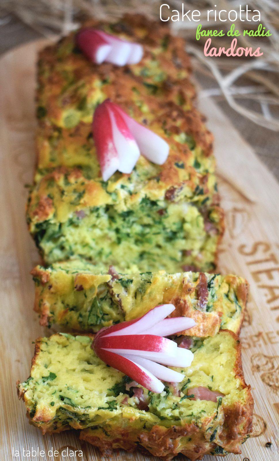Cake ricotta fanes de radis et lardons