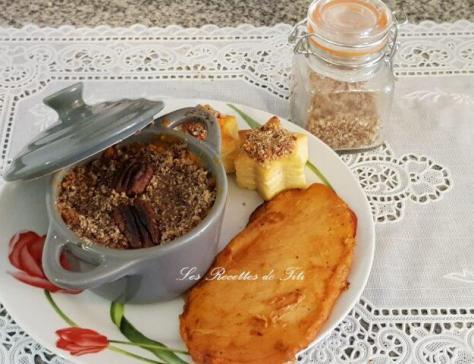 Cassolettes de patate douce et crumble de noix de pecan