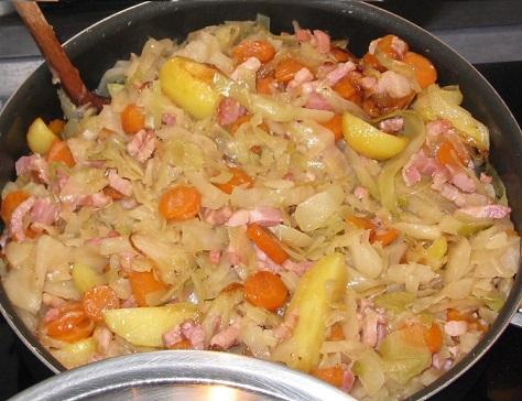 Chou blanc carottes aux lardons