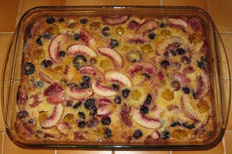 Clafoutis aux mirabelles raisins nectarines et noix de coco 2