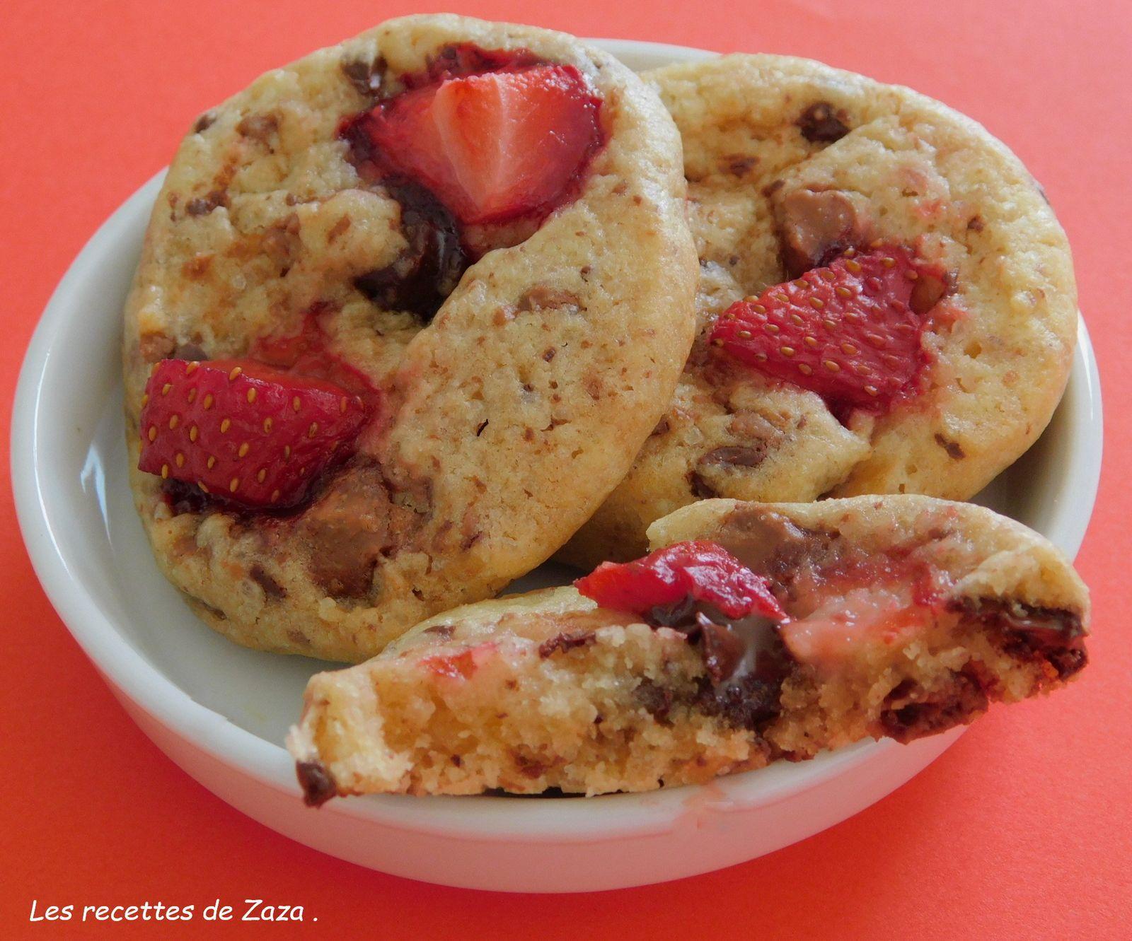 Cookies aux 2 chocolats et aux fraises