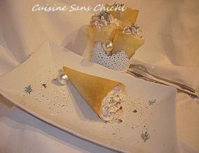 Cornets de feuille de brick au thon et chantilly