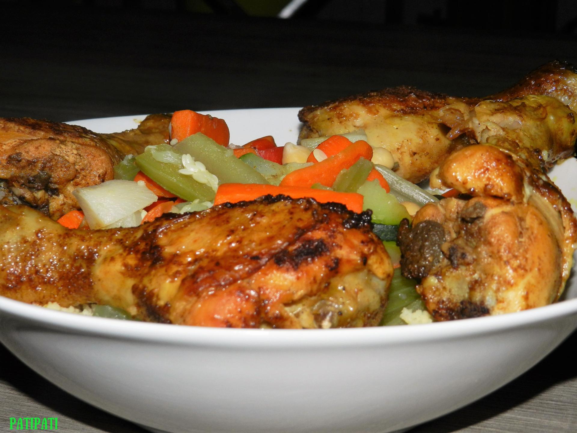 Couscous aux legumes et pilons de poulet