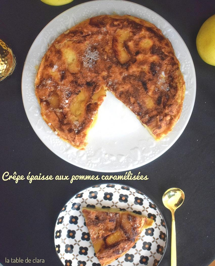 Crepe epaisse aux pommes caramelisees ou matefaim