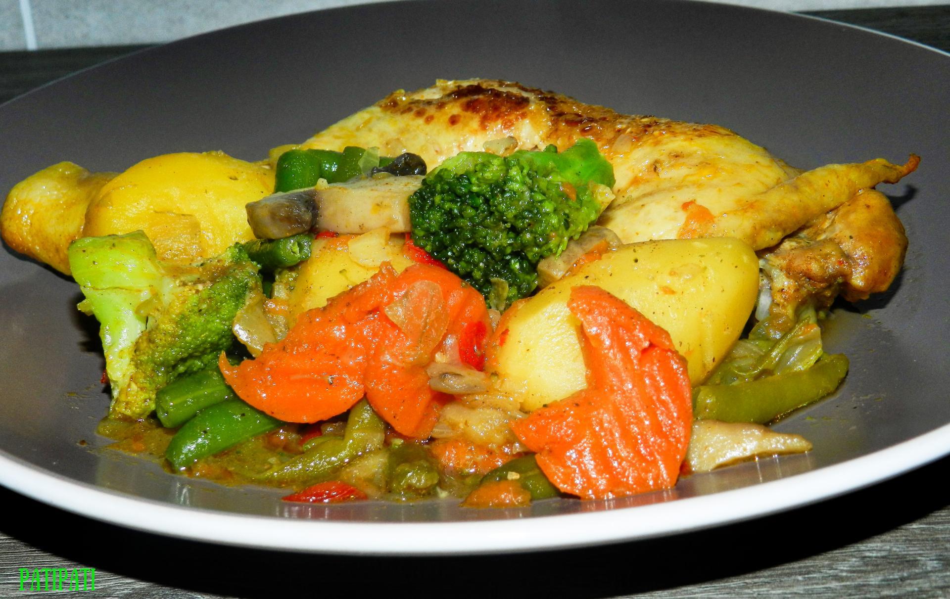 Cuisse de poulet aux legumes