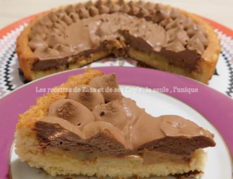 Tarte à l'ananas doré sur biscuit madeleine à la vanille et sa ganache montée au chocolat noir