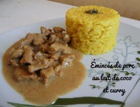 Eminces de porc au lait de coco et curry et sa timbale de riz thai au curcuma