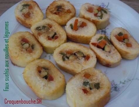 Faux sushis aux nouilles et legumes