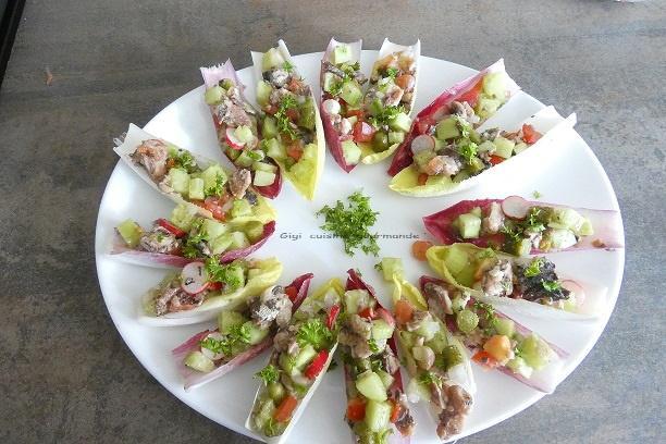 Faux tartare de legumes et sardines
