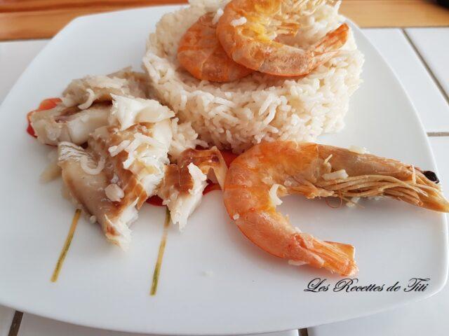 Filet de merlan crevettes et riz au cookeo