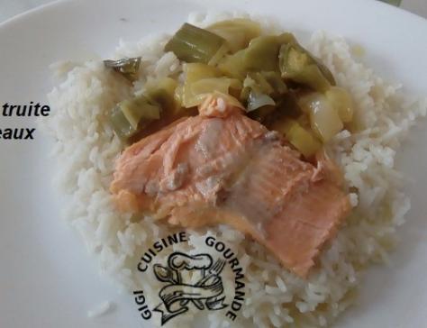 Filets de truite et poireaux sauce safran au cookeo