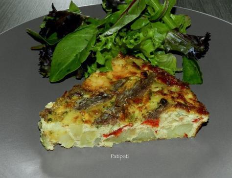 Frittata aux anchois scampis et poivrons