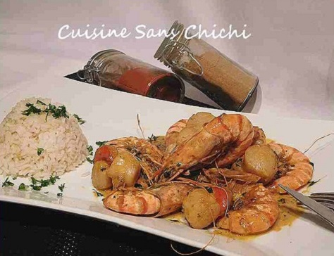 Gambas et noix de st jacques au curry