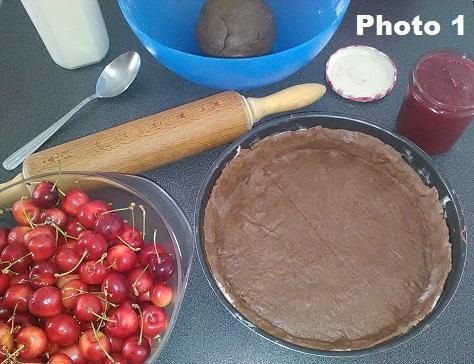 Gateau basque a la cerise et au chocolat photo 1