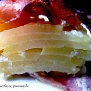 Gateau de pommes de terre aux poires et roquefort