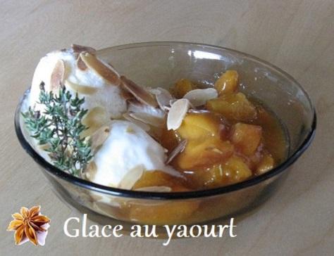 Glace au yaourt et poelee d abricots au thym