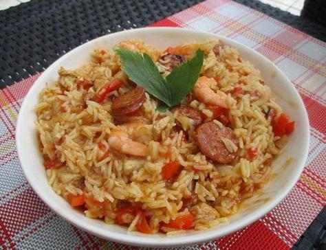 Jumbalaya au poulet crevettes et chorizo