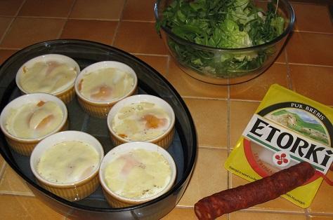 Oeuf cocotte version espagnole au chorizo et au poivron 2
