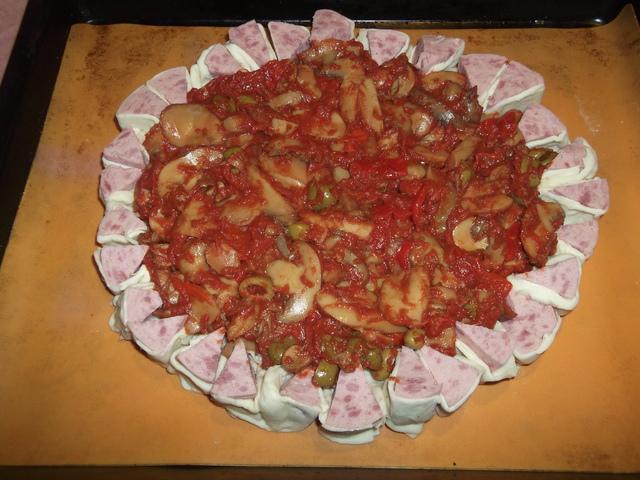 Pizza forestiere en croute farcie preparation 3
