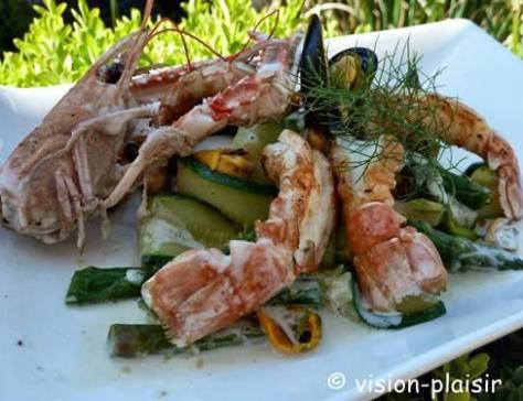 Poeler de langoustines asperges vertes et tagliatelle de courgette