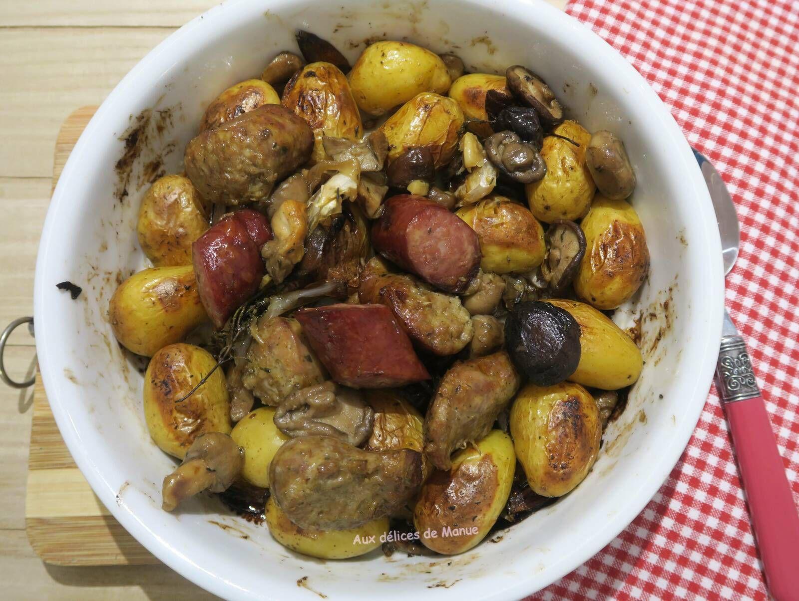 Pommes de terre grenailles a la saucisse au couteau et diot de savoie aux champignons