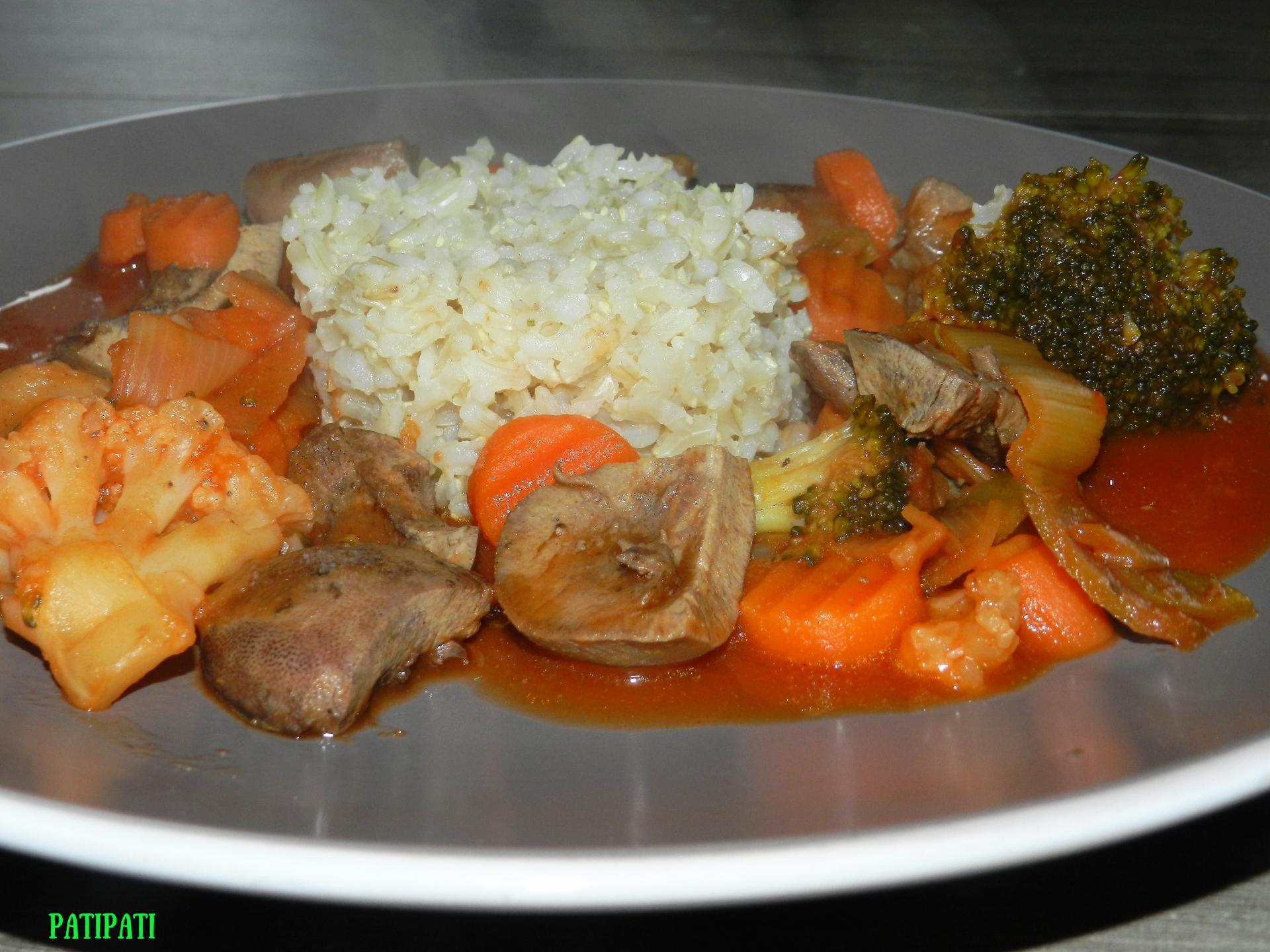 Rognons en sauce et ses legumes