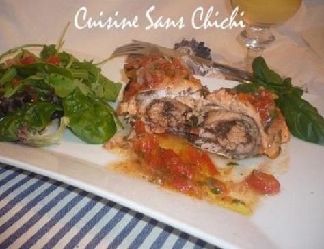 Roti de saumon a la tapenade d olives noires et sa sauce vierge