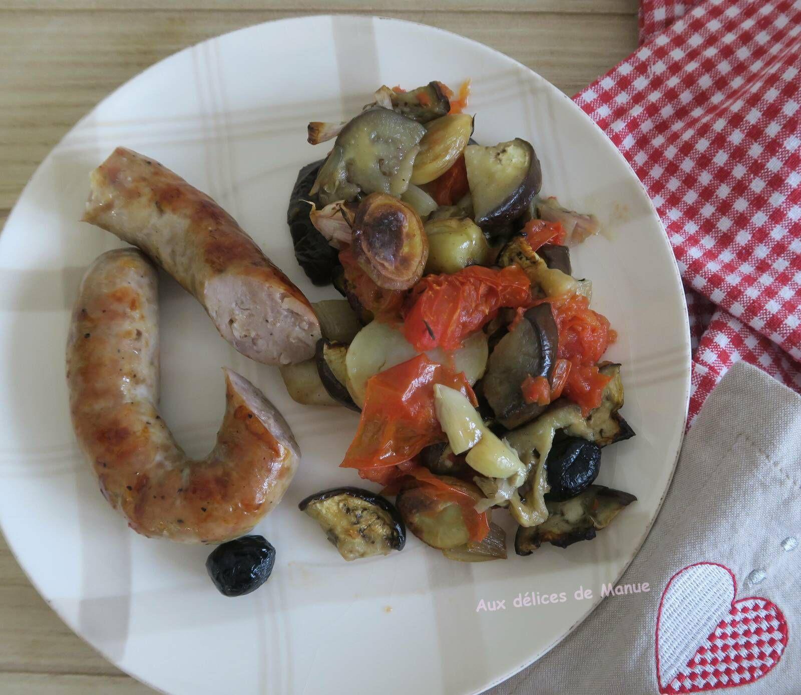 Saucisse de toulouse et legumes au four