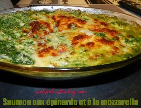 Saumon aux epinards et a la mozzarella