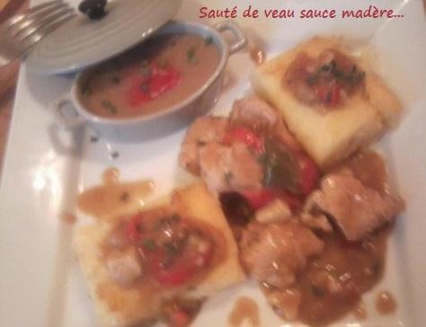 Saute de veau sauce madere et poivrons