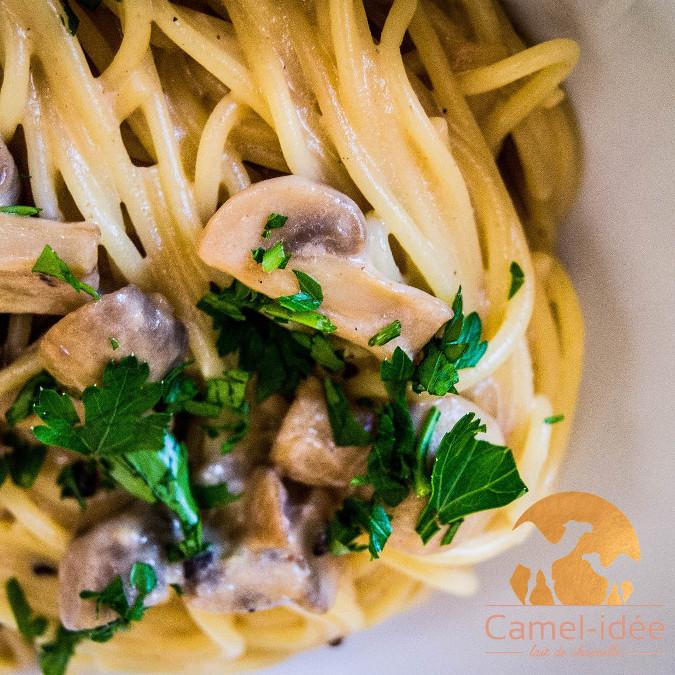 Spaghetti au lait de chamelle et champignons