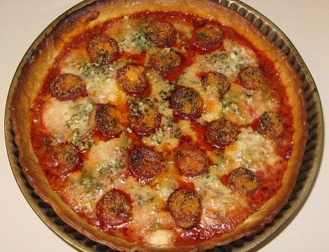 Tarte aux boulettes facon pizza