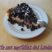 Tarte aux myrtilles des lindarets sur lit de creme patissiere a la vanille