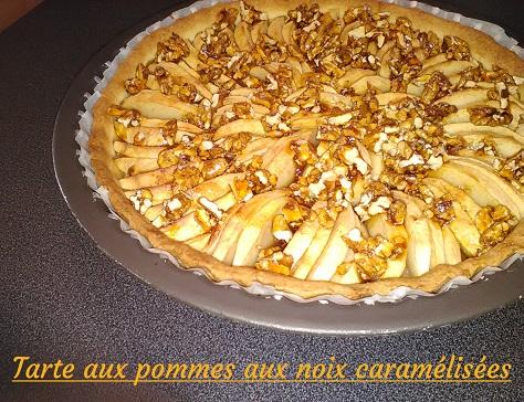 Tarte aux pommes et noix caramelisees