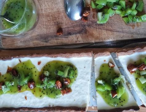 Tarte pannacotta au coulis de kiwis
