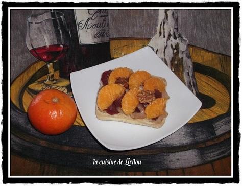 Tartine aux noix magret fume et mandarine