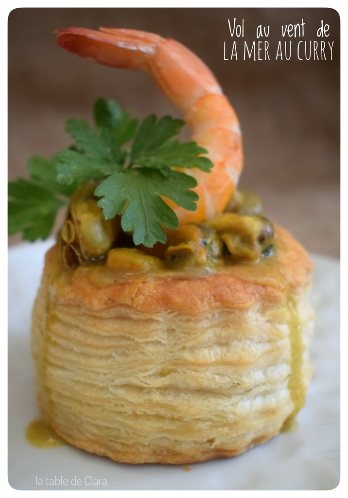 Vol au vent de la mer au curry